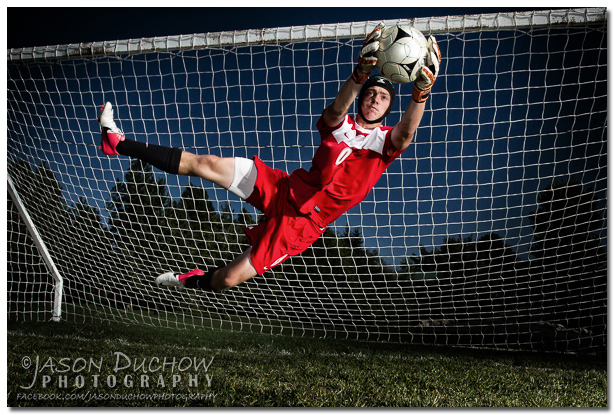 Action portrait of sandpoint soccer keeper Austin Keyes