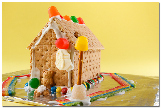 Ginger Bread House with yellow background