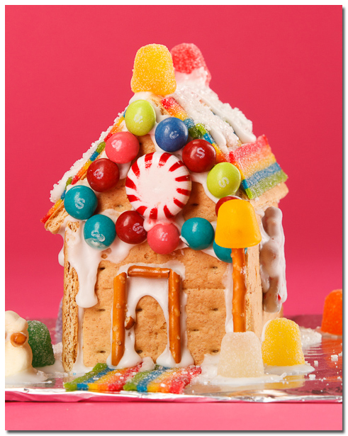 Ginger Bread House with pink background