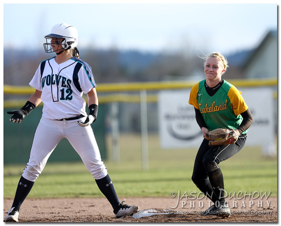 Photo by Coeur d'Alene Photographer Jason Duchow of the Lakeland vs. Lake City Varsity Softball game at Lake City High School on March 27, 2013