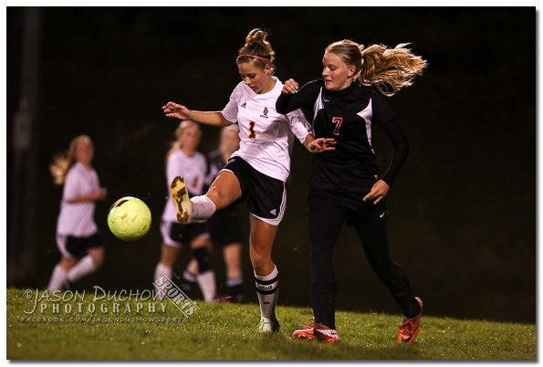 Photo from the varsity girls soccer game between Newport and Priest River