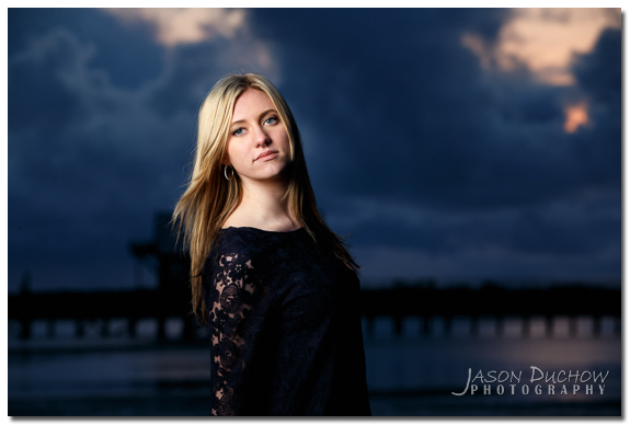 ocean sunset senior portrait