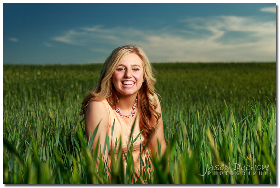 Spring senior portrait with vibrant colors