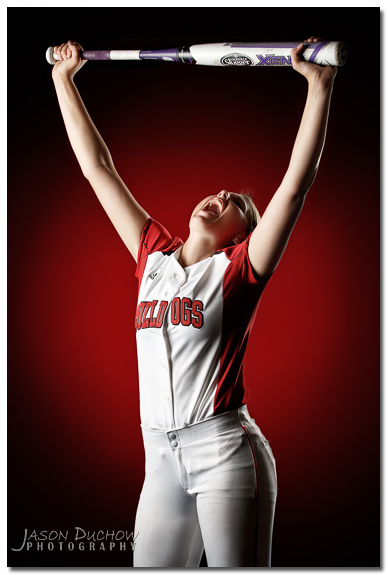 Softball studio senior portrait