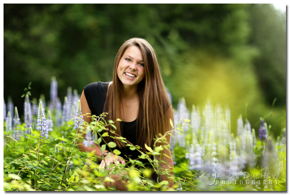 senior portrait among the lupins