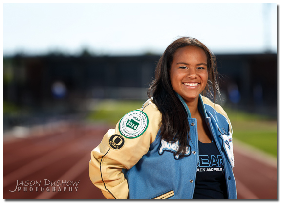 track and field senior portrait
